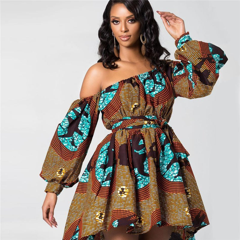 Robe Africaine Rayée Courte | Afro Nation
