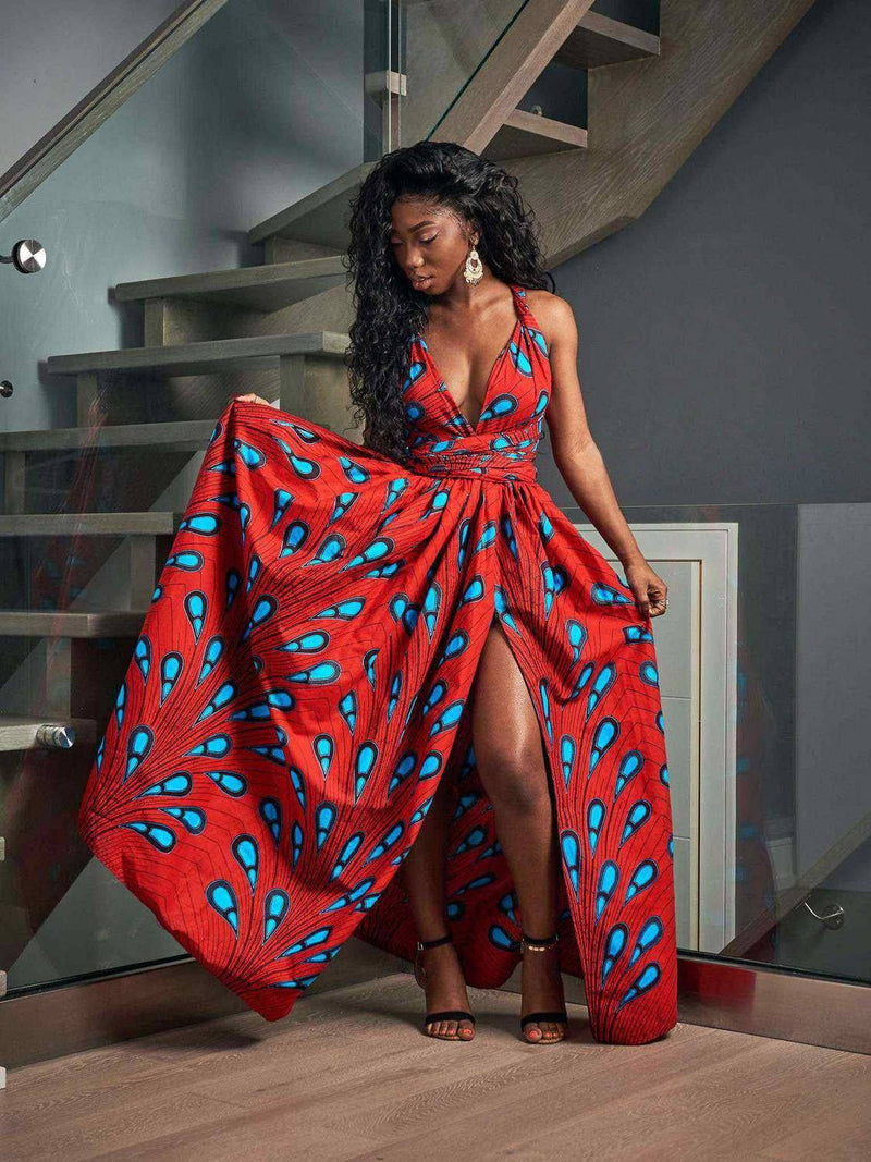 Robe Africaine Rouge Longue Chic | Afro Nation