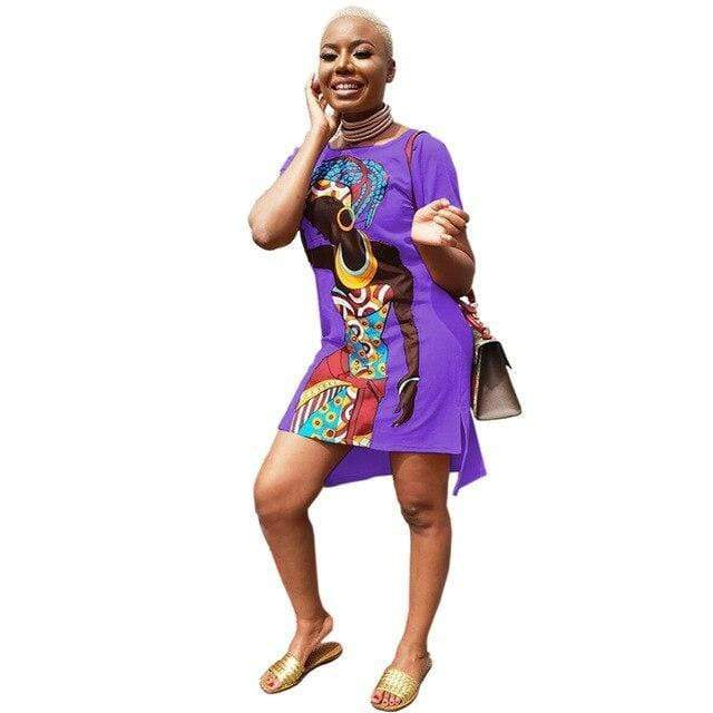 Robe Africaine Violette Courte | Afro Nation