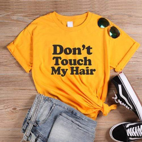 T-Shirt Africain<br> Don't Touch My Hair Jaune  | Afro Nation