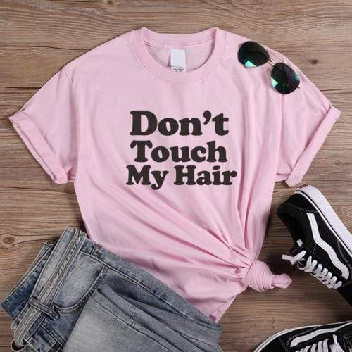 T-Shirt Africain<br> Don't Touch My Hair Rose  | Afro Nation