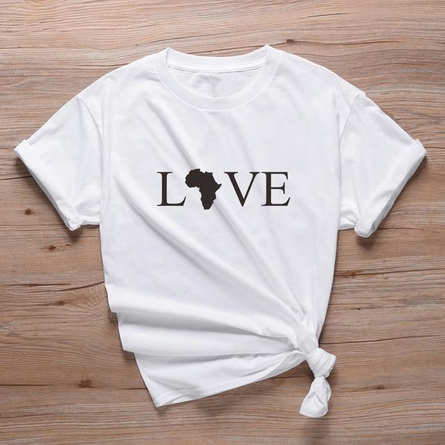 T-Shirt Africain Love Blanc  | Afro Nation