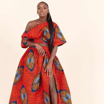 Tenue Africaine Longue Rouge