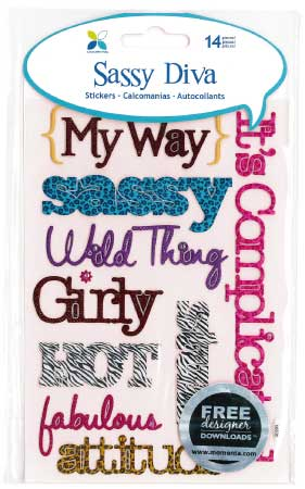Sassy Puffy Title Stickers - Diva
