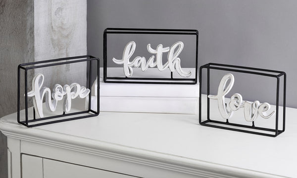 Metal Framed Word Table Decor
