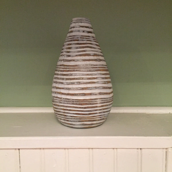 Small White Washed Circular Stripe Vase