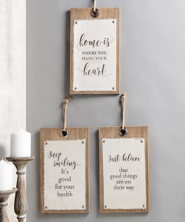 Wood & Canvas Scripted Wall Sign