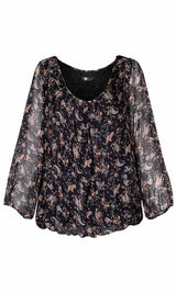 Printed Paisley Chiffon Scoop Neck Top