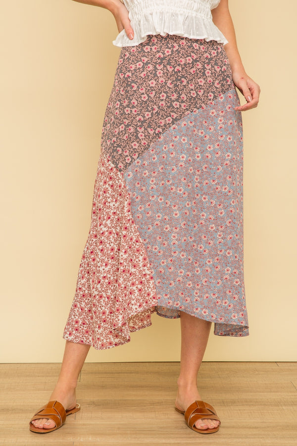 Mauve Mixed Floral Printed Patchwork Skirt