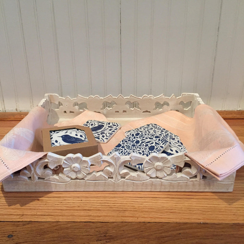 Wood Carved Floral Rectangular Tray