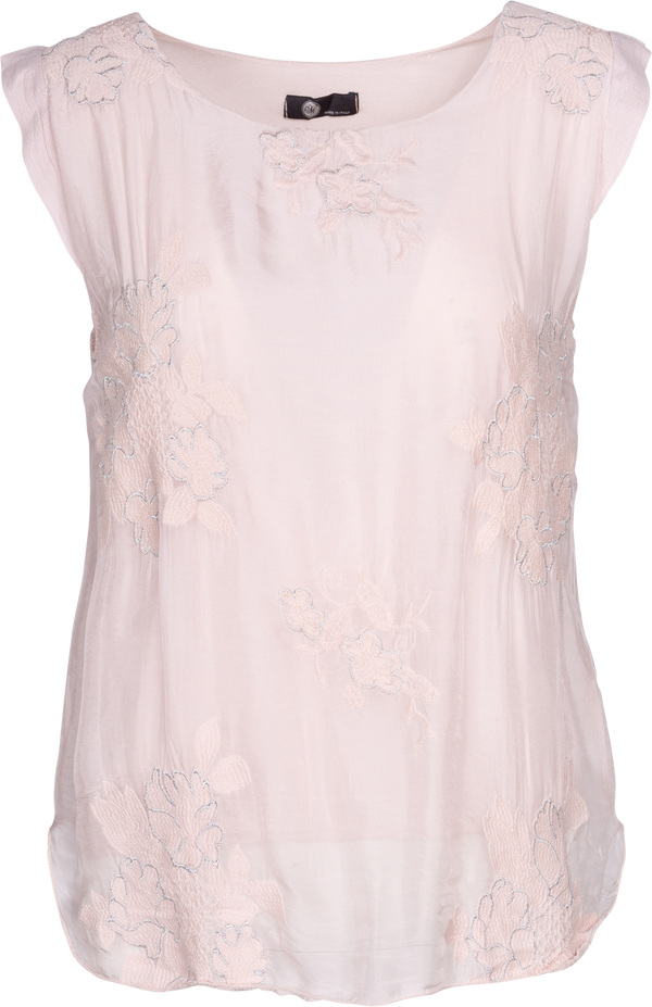 Metallic Rose Embroidered Chiffon Blouse