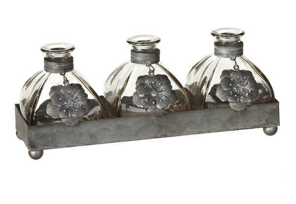 Greywash Flower Triple Mini Bud Vases in Tray