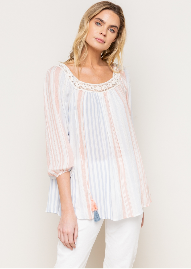 Stripe & Lace Trim Square Tie Neck Tunic