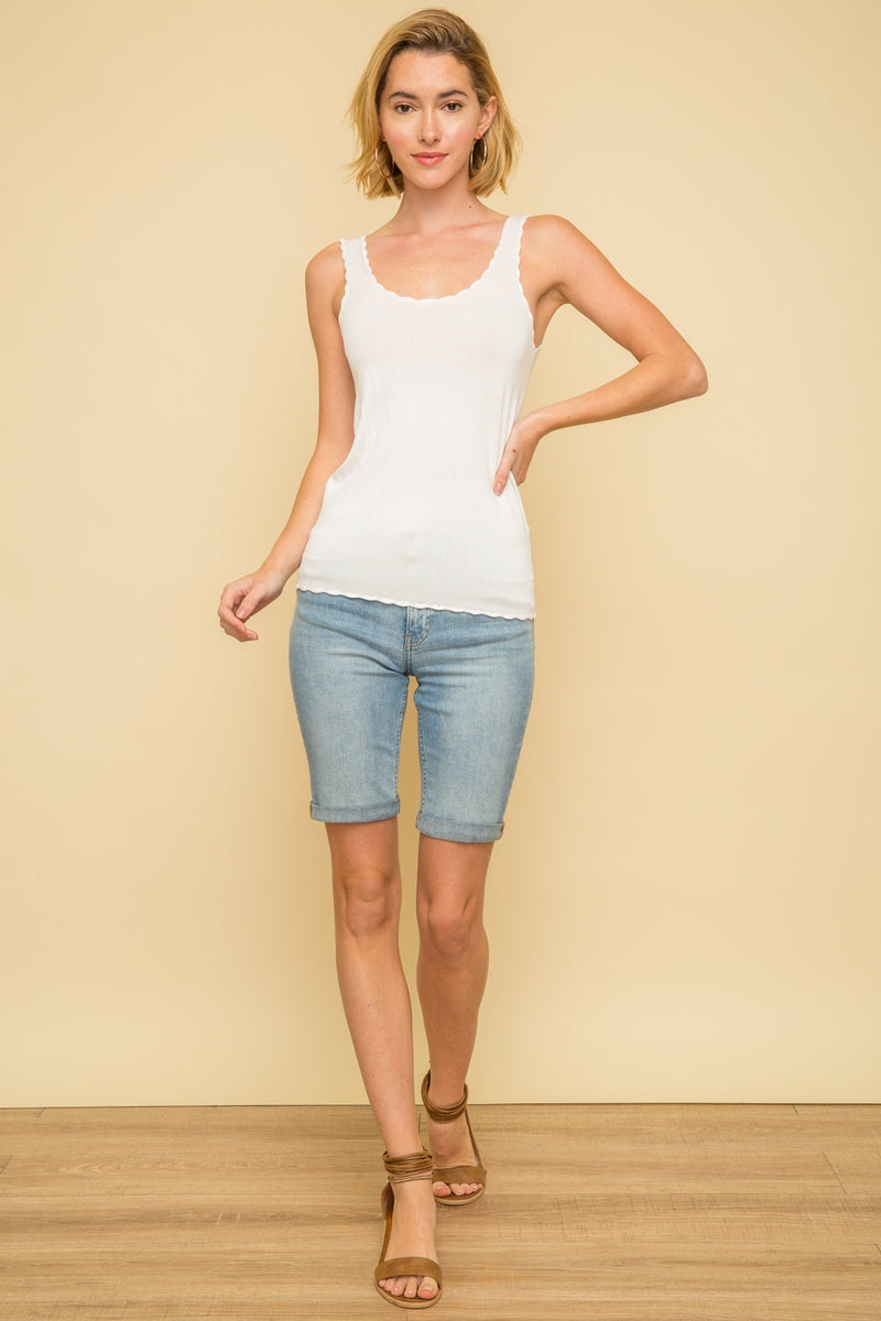 Sleeveless Scallop Edge Knit Camisole