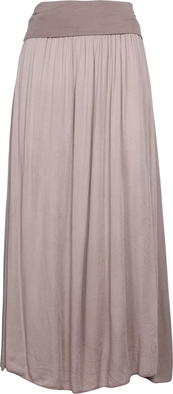 Foldover Band Woven Flowy Maxi Skirt