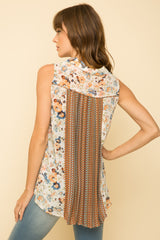 Floral Chiffon Slvls. Button Top w/ Back Pleat