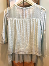 Clover Printed Chiffon Long Slv. Button Front Top