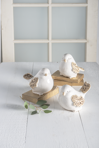 Ivory Scroll Wing Ceramic Bird