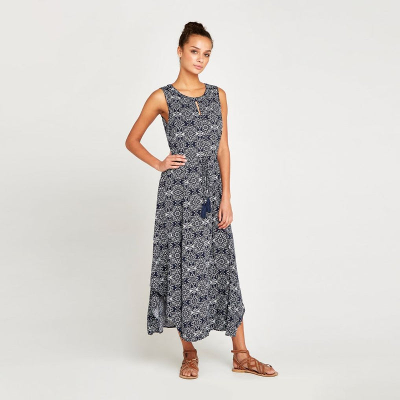 Mosaic Printed Tassel Tie Maxi Dress