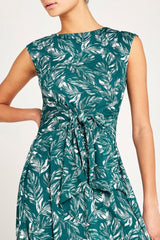 Cap Sleeve Feather Printed Tie Front Dress