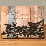 Metal & Wood Bird on Branch Wall Plaque