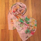 Floral Watercolor Long Scarf