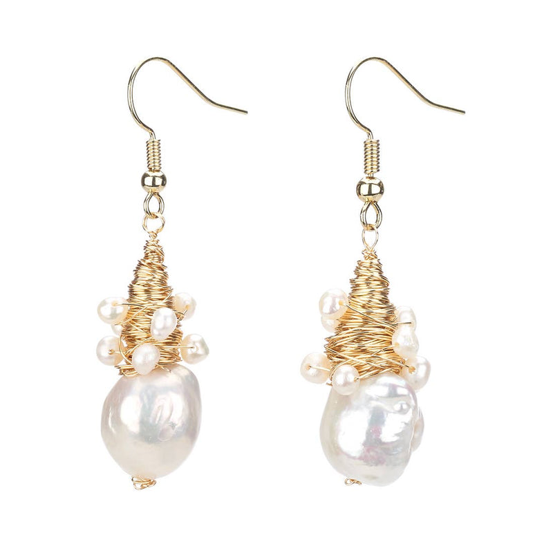Gold Pearl Wire Wrap Drop Earring