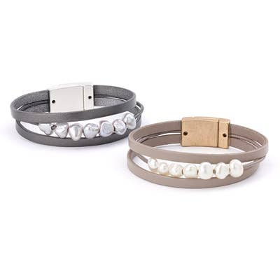 Pearl Leather Strap Magnetic Bracelet