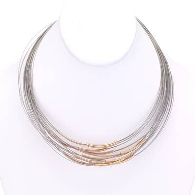 Multi Strand Metal Tube Wire Necklace