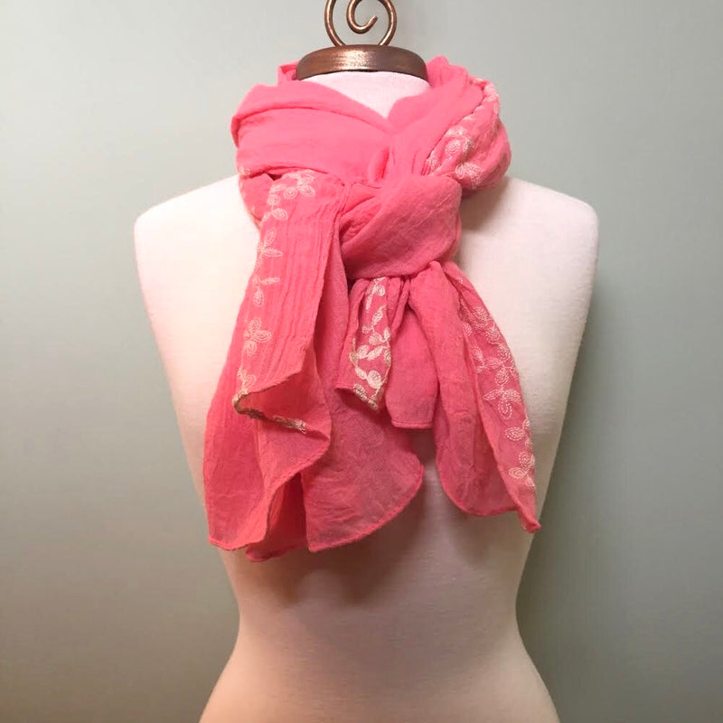 Coral Embroidered Flower Shawl Scarf