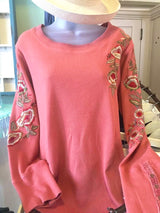Frankie Long Slv. Embroidered Thermal Knit Top