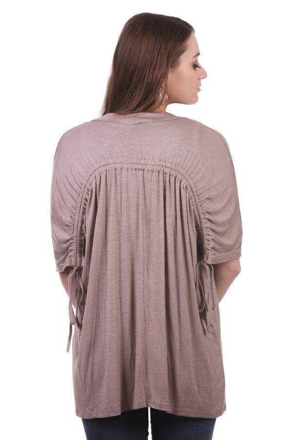 Rouched Back Drawstring Cardigan