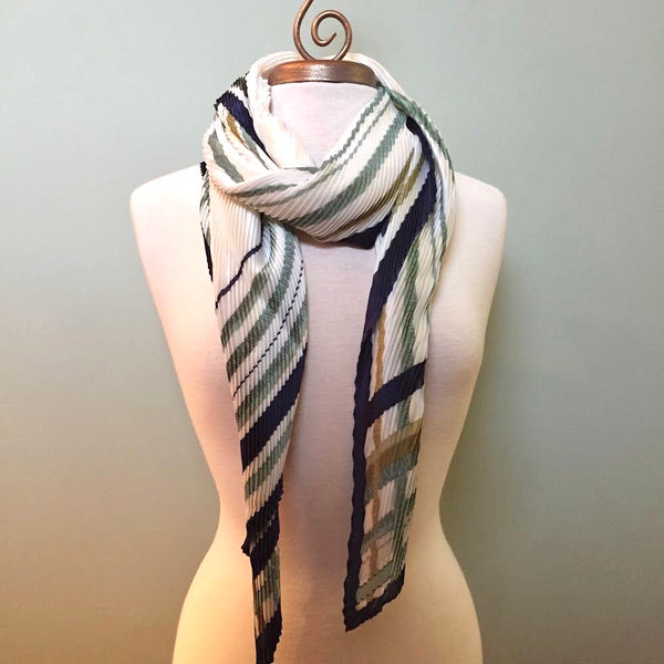 Marcella Pleated Lines Charmeuse Scarf