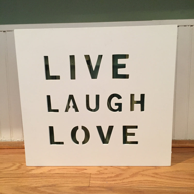 Stripe/White-Live, Laugh, Love Wall Panel