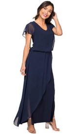 Flutter Slv. Crossover Skirt Chiffon Maxi Dress