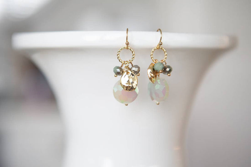 Faceted Teardrop Beaded Cluster Earring