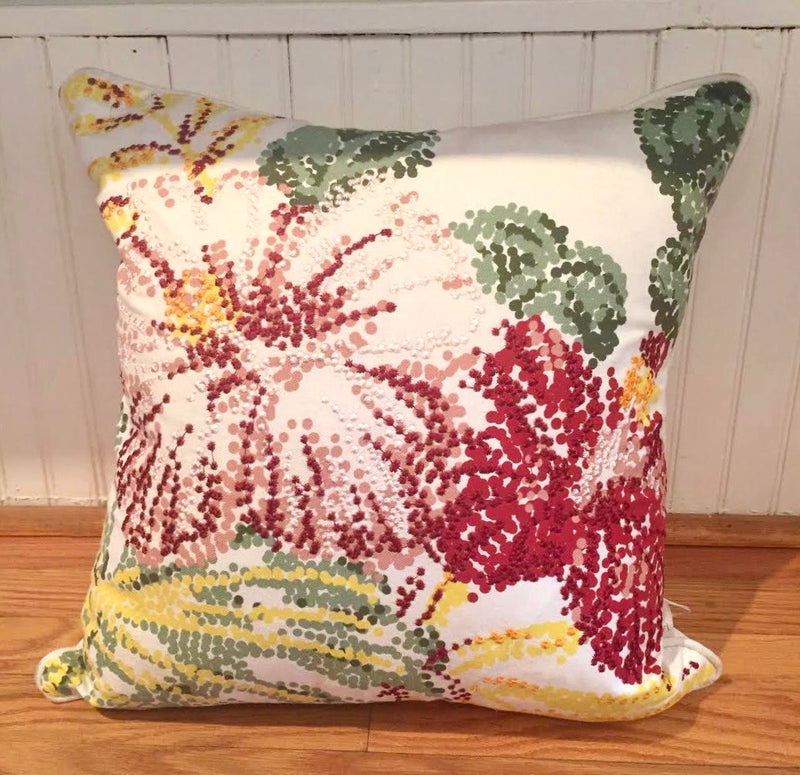 Embroidered Blossom Pillow