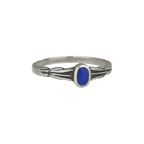 Sterling Silver & Cobalt Dainty Thin Ring