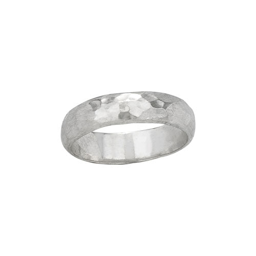 Sterling Silver Hammered Shiny Band Ring