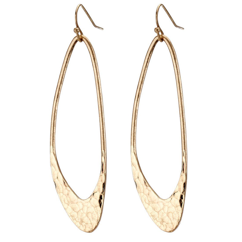 Long Hammered Hoop Earring