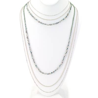 Six Strand Bead & Chain Long Strand Necklace