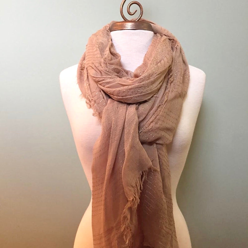 Taupe Solid Sheer Silk Thread Scarf