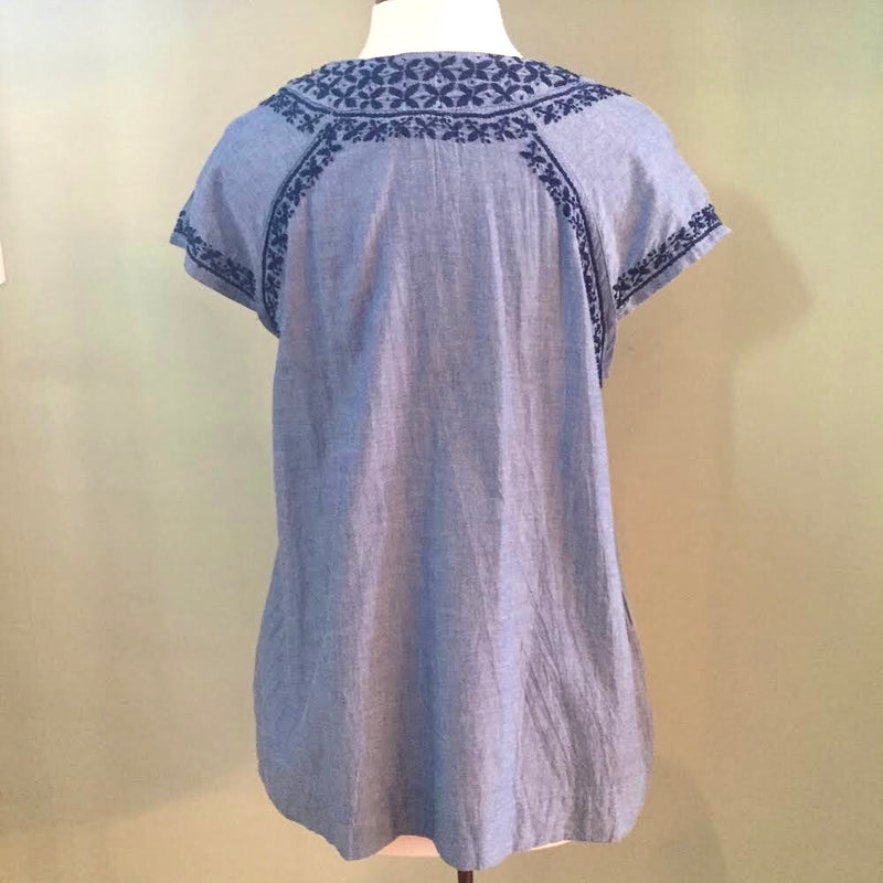 Sadie Chambray Embroidered Cap Slv. Top