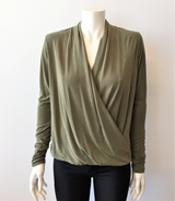 Cupro Long Sleeve Crossover Top