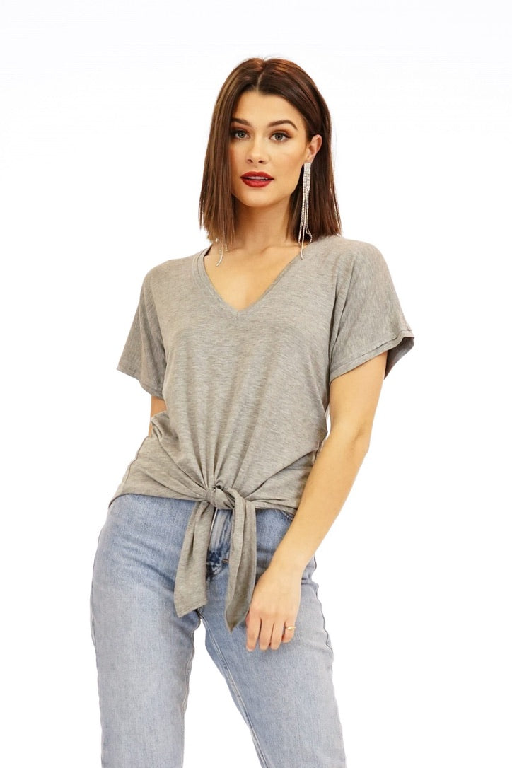 RJ Short Sleeve Tie Front V-Neck Tee Top