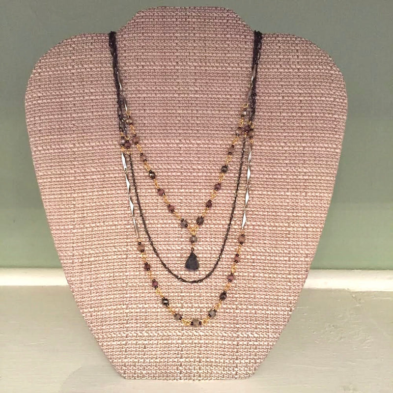 Gun & Gold 3-Strand Bead & Chain Short Necklace