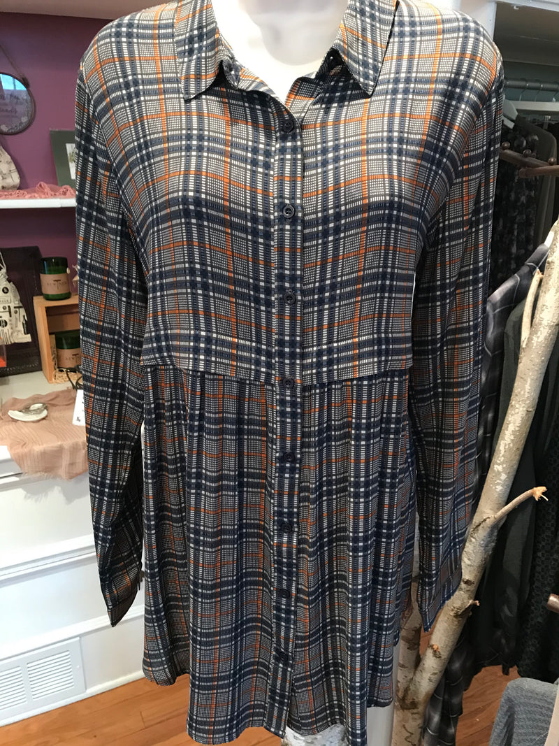 Mixed Plaid Button Down Twill Top