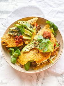 Chickpea Pancakes with Miso Shiitake Mushrooms