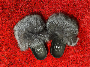 SILVER FOX BONAFIDE FUR SLIDES
