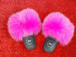 HOT PINK BONAFIDE FUR SLIDES